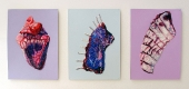 Triptych of Exotics - swarovski crystals and beads on paper
